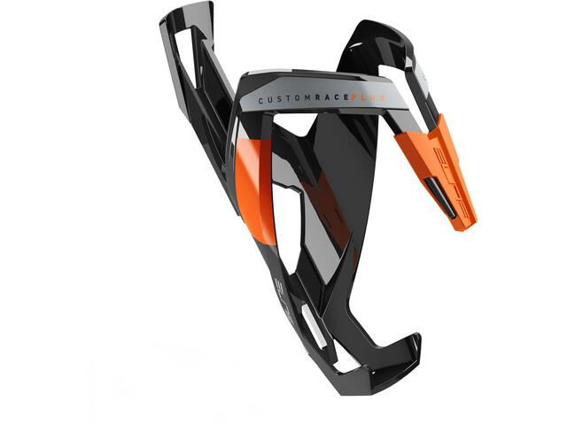Elite Custom Race Plus Flaschenhalter schwarz glänzend/orangene Grafik